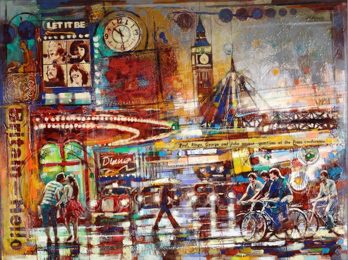Britain Hello by nemo - Glazed Orig Mixed Media on Box Canvas sized 48x36 inches. Available from Whitewall Galleries